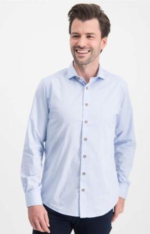 shirt solid stretch light blue logo