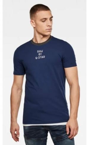 T-shirt text blue logo