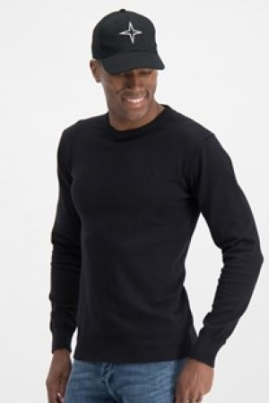 knit crew neck BLACK logo