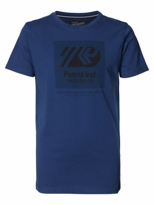 t-shirt ss petrol blue logo