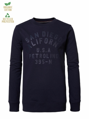 Boy-Sweater dark petrol logo