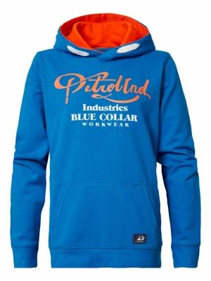 Boy-hoodie azure blue logo