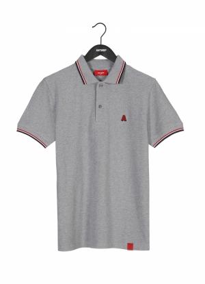 Polo grey chiné logo